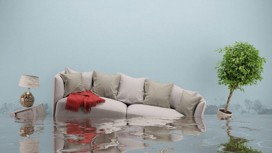 Woonkamer onder water